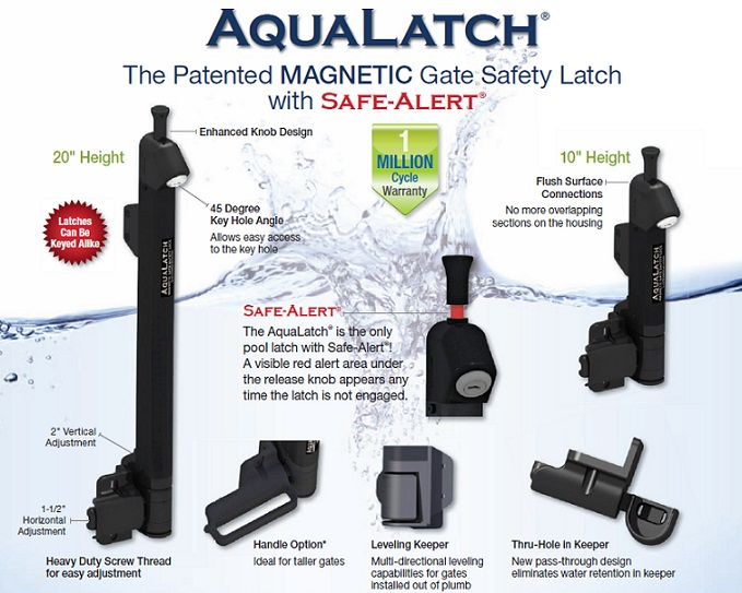 AquaLatch Magnetic Gate Safety Latches for your pool area.